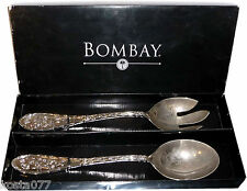 Bombay Co Audoban Salad Set, Silverplated Spoon & Fork in Original Box