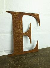 E Rusty Rusted Steel Metal Letter Industrial Sign Garden Decoration Ornament
