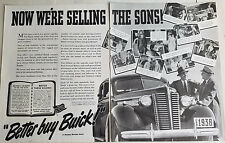 1938 Better Buy Buick Car Now We're Selling the Sons Two Page Original  Ad
