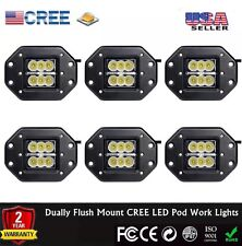 6pcs Dually Flush Mount 24W CREE Flood LED Light Pod Ford Jeep 4X4 Off-Road ATV