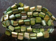 Emerald baroque mother of pearl abalone shell nugget beads 16 in. strand bs335