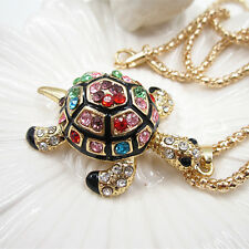 Gold Plated Crystal Black Cute Tortoise Sea Turtle Charm Pendant Chain Necklace