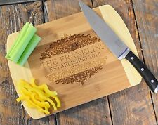 Custom Laser Engraved Bamboo Wood Cutting Board; Family Monogram With Date
