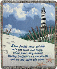 """THROWS - """" FOOTPRINTS ON OUR HEARTS"""" TAPESTRY THROW - LIGHTHOUSE - INSPIRATIONAL"""