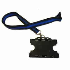 THIN BLUE LINE Memorial Lanyard & Double Card Holder police/sheriff/trooper