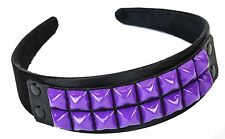 Studded Leather Headband Costume Halloween Headpiece Goth Style Purple