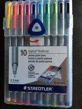 NEW Staedtler Triplus Fineliner Pens, Pack of 10, Assorted Colors 0.3 mm SEALED