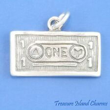ONE DOLLAR BILL US MONEY CURRENCY 925 Solid Sterling Silver Charm BANKER GAMBLER