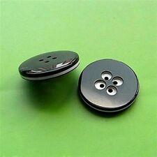6 Large Big Coat Jacket Round 4 Holes Strong Sew On Buttons 34mm 54L Black L81