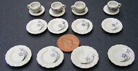1:12 Scale 16 Piece Hand Painted Ceramic Tea Set Dolls House Miniature 26 Dining