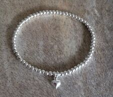 Simple Dainty Silver Ball Beaded Mini Tiny Heart Charm Stretchy Bracelet, Bangle