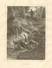 Hunter Bags Fox & Pheasant, A Lucky Shot, Vintage, 1880 French Antique Art Print
