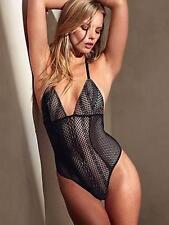 $58.00 Victorias Secret TEDDY LINGERIE  PLUNGE FISHNET LACE-BLACK  S/P