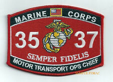 MOS 3537 MOTOR TRANSPORT MT OPERATIONS OPS CHIEF HAT PATCH US MARINES PIN UP WOW