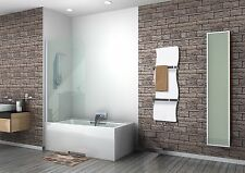 White Heated Towel Rail Wave Designer Radiator 350 mm Wide 1200 mm High Bathroom