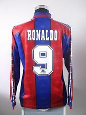RONALDO #9 BNWT Barcelona Long Sleeve Home Football Shirt Jersey 1996/97 (L)