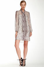 $385 NWT DVF PYTHON GREY JEZEBEL ABOVE-KNEE SILK DRESS SZ 0