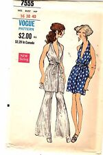 Vintage 1960s Vogue Sewing Pattern Women's HALTER MINI DRESS PANTS 7555 16 UNCUT