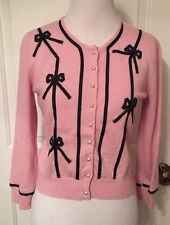 Small MILLY NY Light Pink Cashmere Cropped Cardigan Sweater W/ Black Bows Etc.