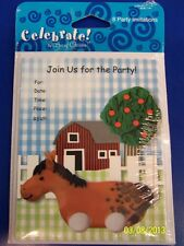 RARE Happy Birthday Little One 1st Farm Barnyard Party Invitations w/Envelopes