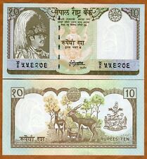 Nepal, 10 Rupees, ND (1985-1987), P-31 (31b), Sign. 13 UNC   King Birendra, Deer