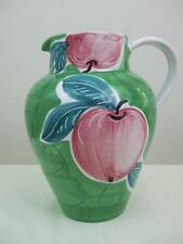 "Large 96oz Pitcher Jug Hand Painted Italy Apple Pier 1 Green Mauve Blue 9.5""tall"