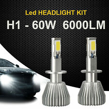 2x 60W H1 LED Headlight Kit Light Car 6000LM Bulbs  6000K White Beam High Power