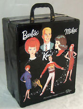 Vintage Barbie Midge Ken 3 Doll Trunk Case Wardrobe 1964 Black Vinyl SPP RARE!