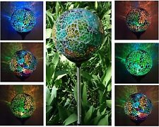 Solar Powered Mosaic Glass Ball Garden Stake Lamp Color Change Yard LED Light
