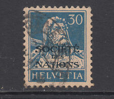 Switzerland Sc 2O17a used. 1930 30c deep blue on buff, League of Nations ovpt