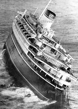 "Photo: 5"" x 7"": Grand View: Sinking Andrea Doria Stern Close-Up, July 26th, 1956"