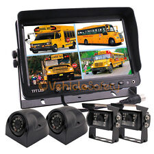 "9"" QUAD SPLIT SCREEN MONITOR TRUCK TRAILER BACKUP CAMERA SYSTEM REAR VIEW CAMERA"