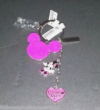 DISNEY PARKS  MINNIE MOUSE PINK KEYCHAIN HEART DANGLE MICKEY HEAD ICON