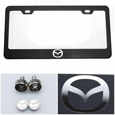 Black Stainless Steel License Plate Frame Laser Engraved Logo for Mazda