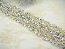 Gorgeous Diamante Crystal Bridal Applique Beaded Motif Pearl Wedding Applique