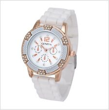 Geneva Women's Crystal Rhinestones watch with Chronograph Silicone Strap RGWhite