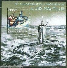 CENTRAL AFRICA 2014 60th ANNIVERSARY LAUNCH OF NAUTILUS SUBMARINE  S/S MINT NH