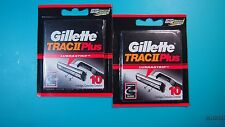 gillette trac ii plus razor blades, 2 packs,  20 total,  FREE FIRST CLASS FAST