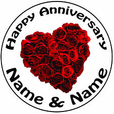 """Personalised Happy Anniversary Heart Roses Round 8"""" Icing Cake Topper Decoration"""