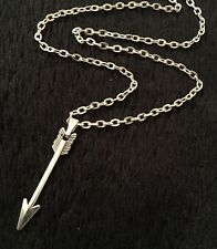"Small Arrow Necklace 17"" chain The Hunger Games Walking Dead Archery Cross Bow"