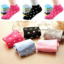 5 Pairs Trendy Womens Sports Casual Heart Ankle High Low Cut Cotton Socks Set