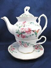 Tea for One Set Hummingbird and Floral Pattern Porcelain Kitchen Ware Home Decor