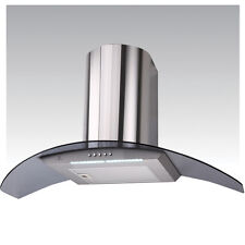 90cm Stainless Steel Truly Curved Smoke Glass Curved Cooker Hood DC77-9S