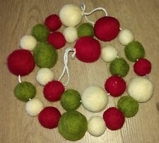 100% wool felt ball CHRISTMAS pom pom GARLAND decoration NEW 100cm 29 balls NEW