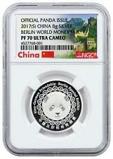 2017 China - Silver Panda - Berlin World Money Fair - PF70 UC - NGC Medal #001