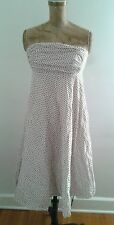 J Crew White Bustier Dress w Full Skirt Red Blue Polka Dots Sz 6 Cotton