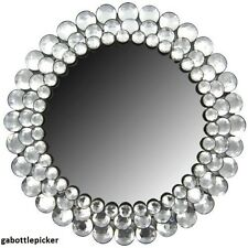 Modern Round Circle Chic Crystal Bling Gemstone Accented Wall Mirror Decor NEW