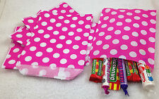 "100 Pink & White Reverse Spot Design Paper Sweet Party Bags Any Occasion 5"" x 7"""