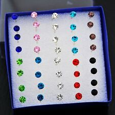 20 Pairs 4MM Multi-color Artificial Crystal Earrings ED269