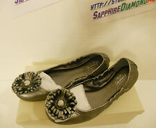 COACH Ariza Warm Pewter Cracked Metallic Ballet Flats A2027 Size 7.5M NEW IN BOX